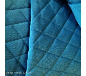 Velvet pikowany w romby 0,1 mb - morski turkus