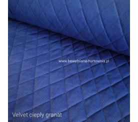 Velvet pikowany w romby 0,1 mb - ciepły granat