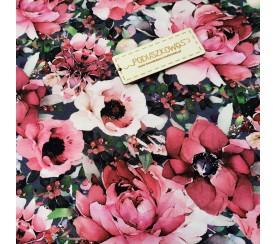 Dzianina pętelka drukowana 0,1 mb - różowy kwiat