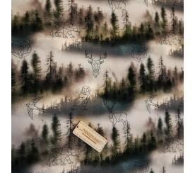 Dzianina pętelka drukowana 0,1 mb - las we mgle z nadrukiem
